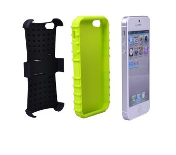 IF-5F-BGR. Dual Layer iphone 5 Case with Kick stand